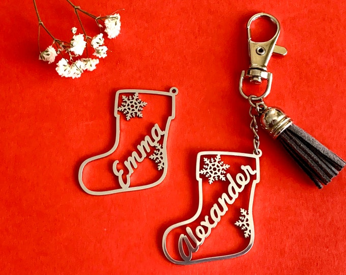 Personalized Christmas Name Keychain Custom Keyring with Tassel Xmas Gift Customized Stocking Ornament Stainless Steel  Christmas Gift Ideas
