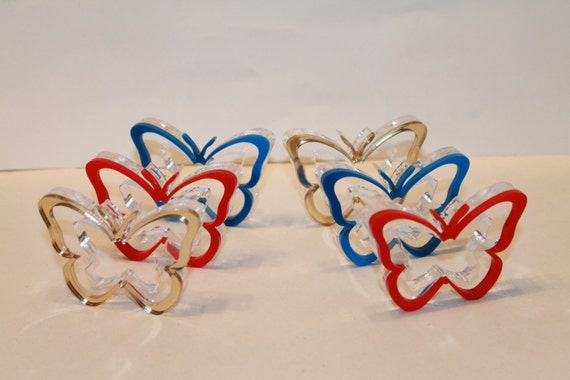 Napkin Ring Holders, Napkin Rings in Red, Blue and Gold Butterfly, Spring Decor, Set of 6, Spring Decorating Ideas, Original Home Decoration