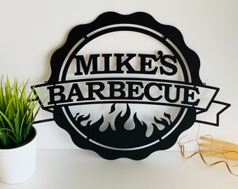 Personalized BBQ Sign Custom Name Barbecue Patio Sign Garden Outdoor Dad's BBQ Home Decor Housewarming Gift for Father, Grandpa Wall Hanging