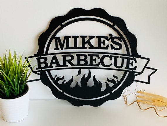 Personalized Metal BBQ Sign for Porch Grill /& Chill Lounge Custom Name Sign Barbecue Outdoor Dads BBQ Decorative Metal Wall Art Sign Father Bull Head Grilling Housewarming Gift Hanging Garden Sign