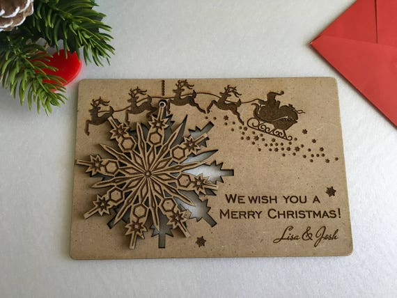Christmas cards Personalised wooden greeting cards Wood snowflake card Christmas gift Engraved ornament Xmas cards Merry Christmas holiday