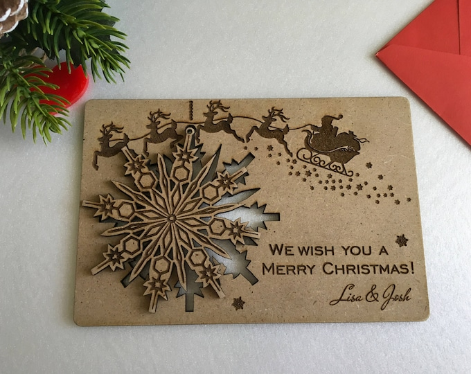 Personalized Christmas greeting cards Custom wood cards Personal message Christmas gift Engraved ornament Xmas cards Merry Christmas holiday