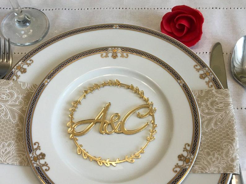Custom wedding initials Personalized monogram letters Laser image 0