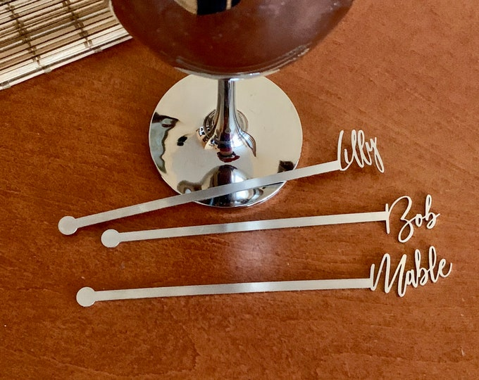 Custom name stainless steel drink stirrers Personalized metal swizzle stir sticks Birthday cocktail accessories Anniversary party, New FONT