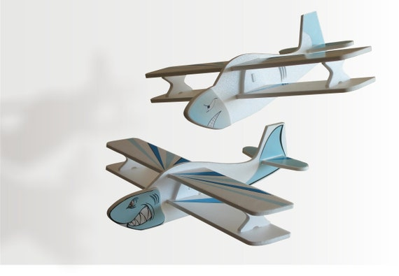 Plane Air Jet Airplane Handmade Toy Aeroplane Gift for a boy Sharks Aircraft Children planes Ocean Theme Decor Birthday party idea Set of 2
