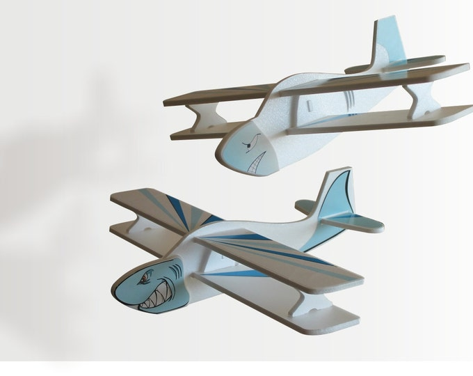 Set of 2 Airplane Air Jet Handmade Toy Aeroplane Gift for Boy Sharks Aircraft Children Planes Ocean Theme Birthday Party Idea Decorations