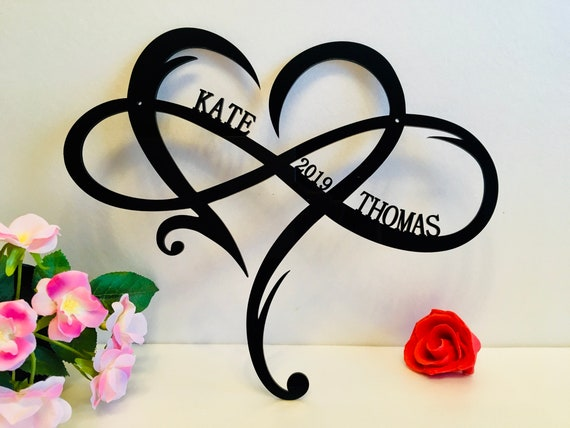 Personalized Infinity Symbol Custom Heart Names Est Year Wedding Date Wall Hanging Decor Love Established Sign Door Hanger Gift for Couples