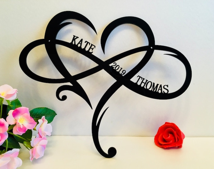 Personalized Infinity Symbol Custom Heart Names Est Year Metal Wedding Date Valentines Day Gift for Couple Love Established Sign Door Hanger
