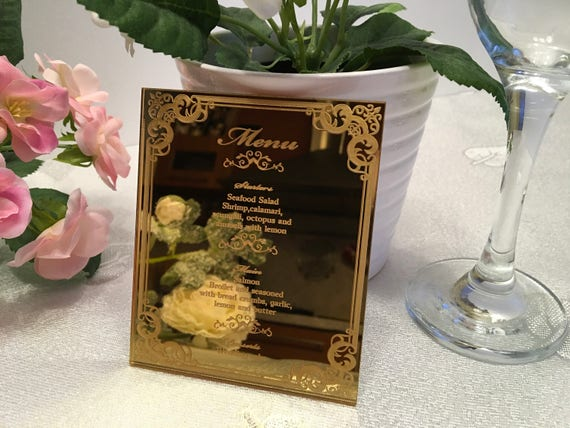 Gold wedding menu Dinner party table decor Bridal shower Food menu card Laser engraved Wedding sign Reception Custom Menu Wedding invitation