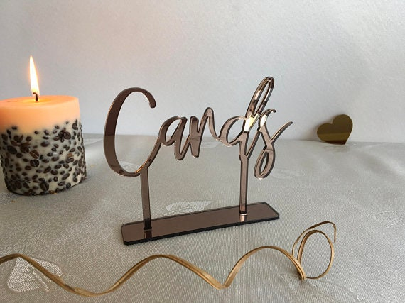 Wedding Cards Table Sign Gold Bronze Silver Laser Cut Calligraphy Freestanding Personalized Custom Acrylic Reception Decorations Cards Box
