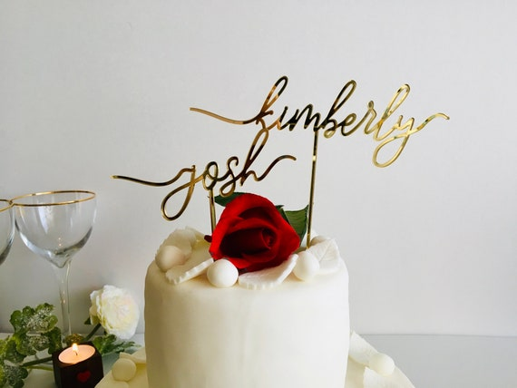 Personalized Gold Mirrored Wedding Cake Topper Couples Names Calligraphy Bride & Groom Mr and Mrs First Name Custom Bridal Shower Decoration