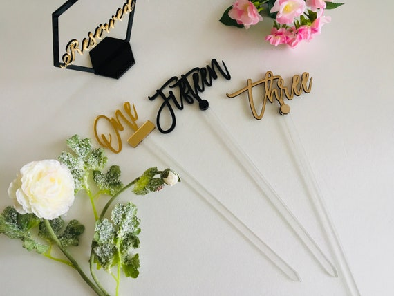 Large Wedding Table Numbers Script Acrylic Gold Tall Table Numbers on Clear Sticks Luxury Calligraphy Wedding Signs Centerpiece Personalized