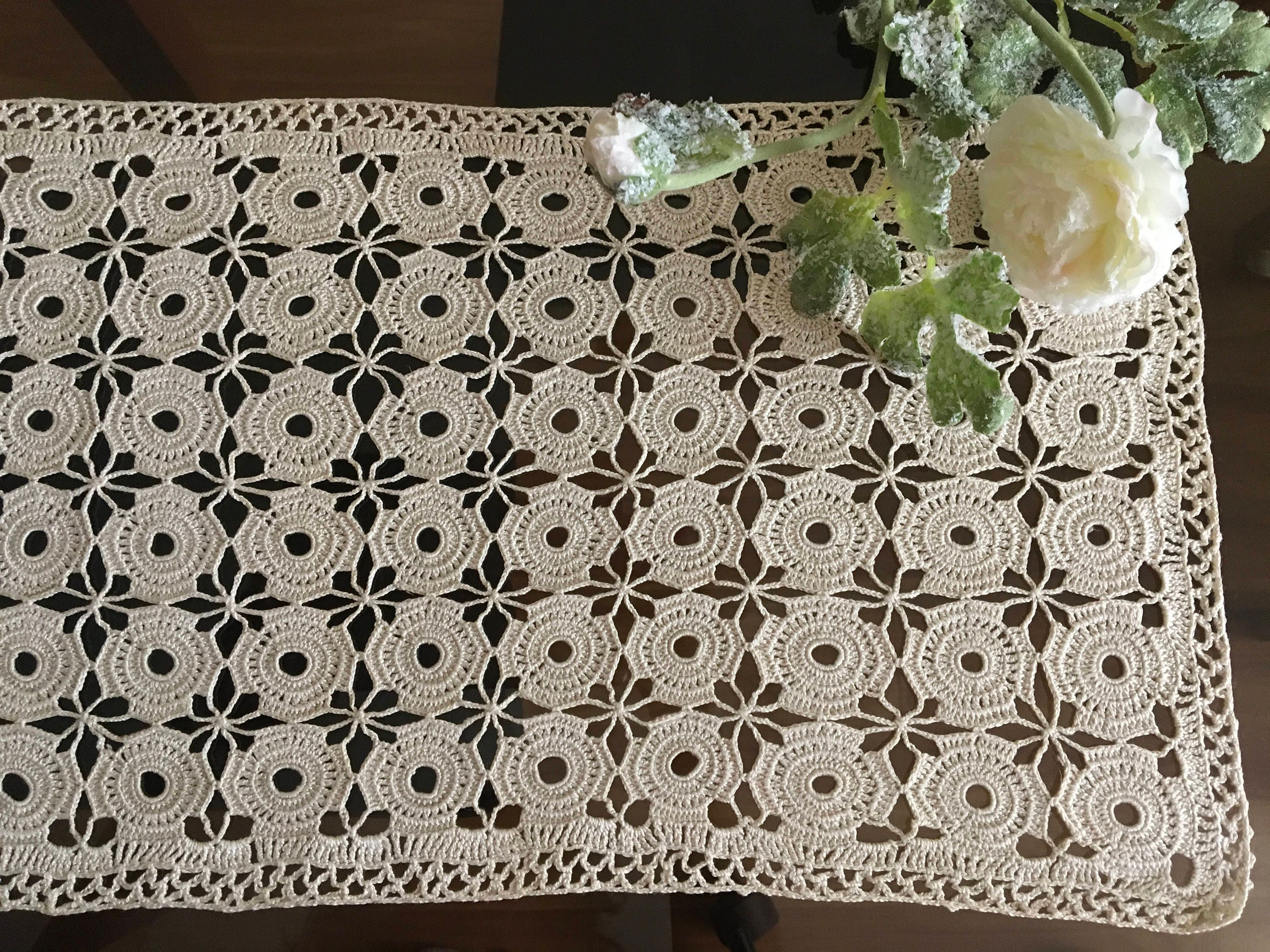 Large Doily Crochet Vintage Wedding Rectangle Handmade Tablecloth