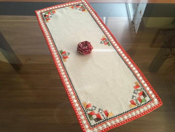 Vintage Handmade Rectangle Runners Ethnic Doily Crochet Red Embroidery Traditional Bulgarian Folk Art Linen Black Beige Table Topper Cover