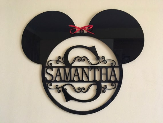 Mickey Mouse Ears Monogram Personalized Name Acrylic Sign Split Letter Wall Door Hanger Custom Sign Disney Wreath Nursery Decor Kids Room