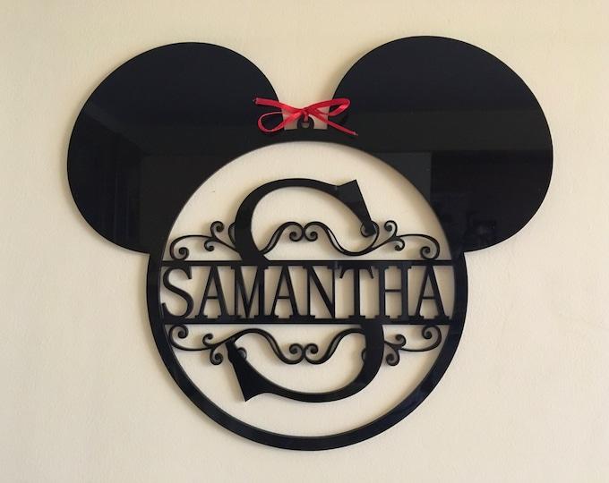 Mickey Mouse Head Monogram Personalized Name Acrylic Sign Split Letter Wall Door Hanger Custom Disney Ears Wreath Nursery Decor Kids Room