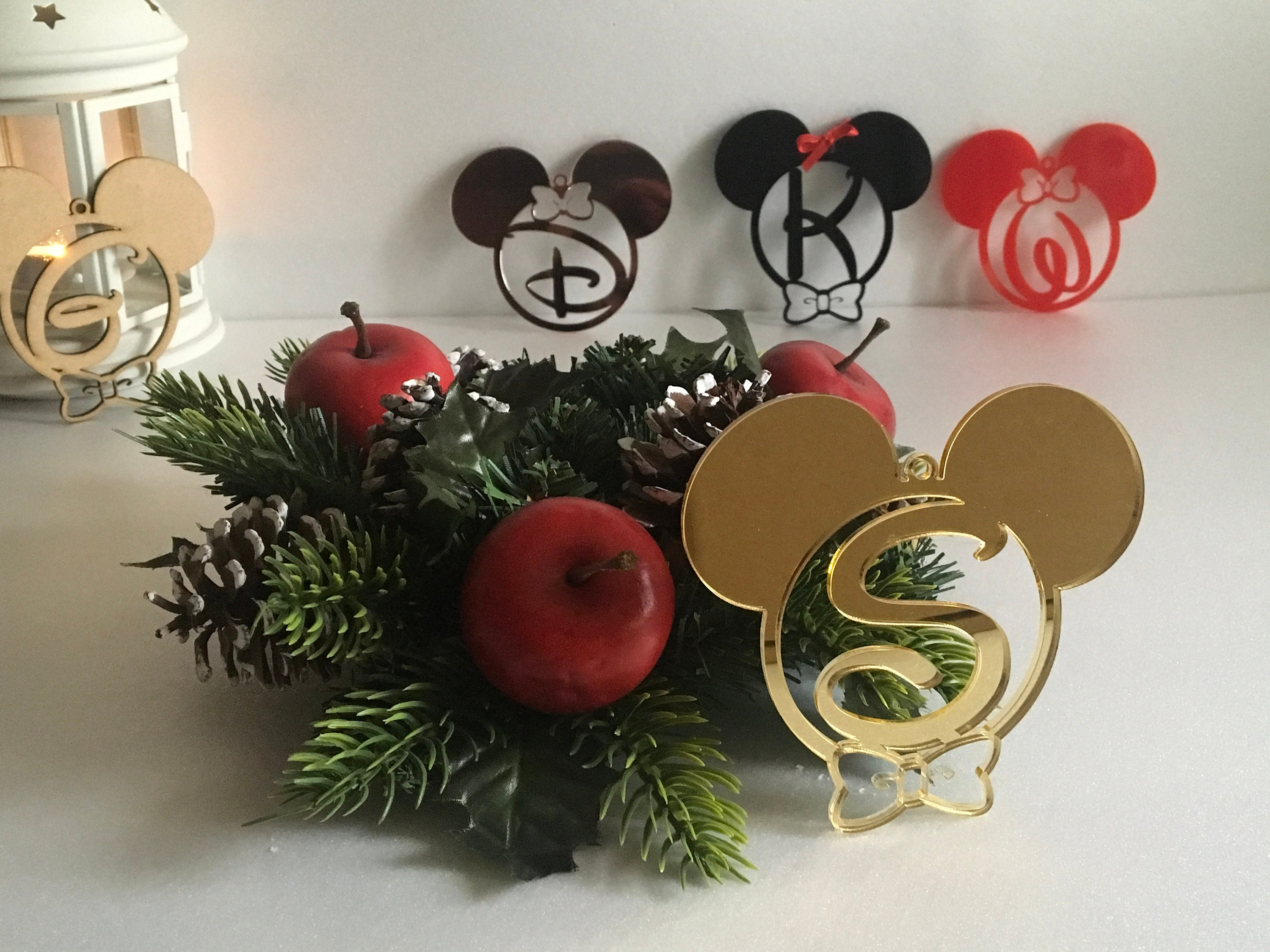 Personalized Christmas Baubles Initial Ornaments Mickey Minnie