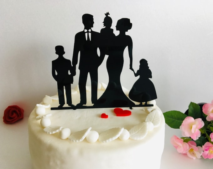 Wedding Cake Topper with Children Mr and Mrs Wood Any Color Cake Toppers Family Silhouette Family Wedding Bride and Groom Kids Custom Orders