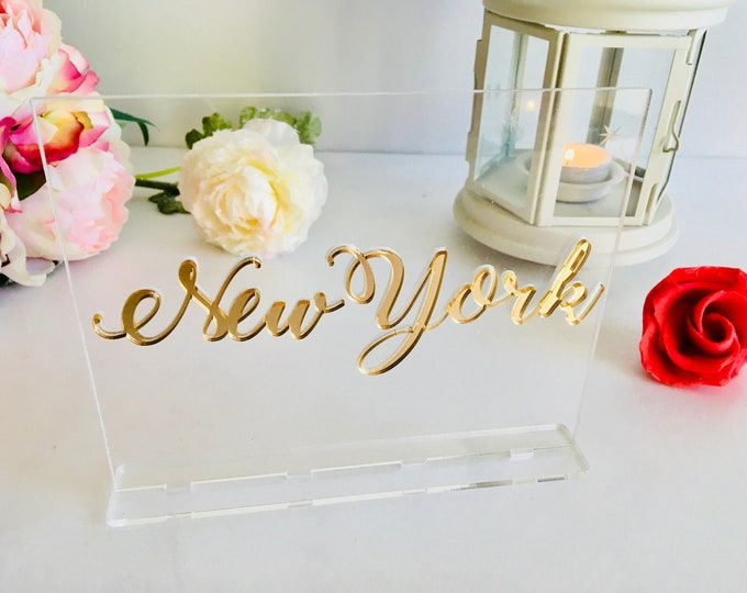 Table City Signs Wedding Table Numbers Personalized Table Number Custom Names Decorations Reception Centerpiece Clear Acrylic Sign with Base