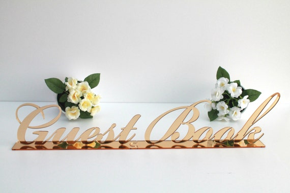 Gold Wedding Guestbook Table Sign Freestanding Guestbook Reception Decor Guestbook Table Sign Stand Wedding Signage Guestbook laser cut sign