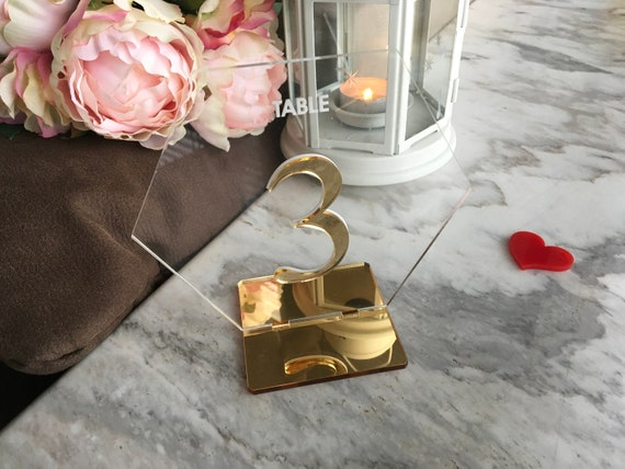 Wedding Table Numbers Hexagon Geometric Gold Mirror Clear Acrylic Signs Modern Centerpieces Decorations Laser Cut Engraved Freestanding Tags