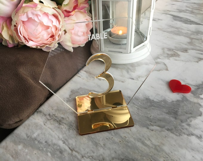 Wedding Table Number Stands Hexagon Geometric Clear Acrylic Table Signs Modern Centerpieces Decorations Laser Cut Engraved Freestanding Tags