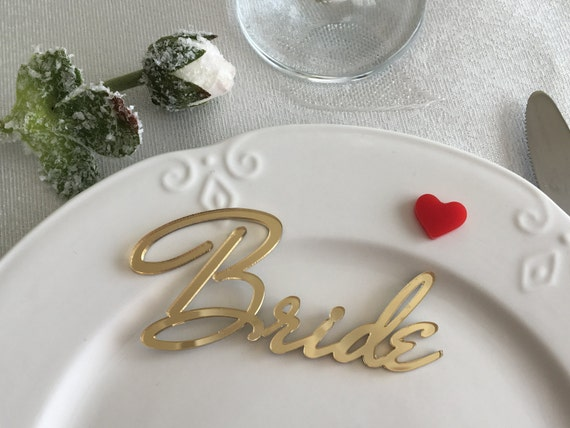 Personalized Bride and Groom Wedding place cards Wedding sign Gold mirror Laser cut names Wedding centerpiece Name place setting Guest names