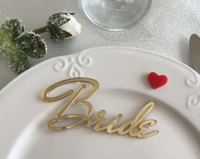 Personalized wedding place cards Wedding sign Gold mirror Custom laser cut names Wedding centerpiece Name place setting Guest name Any color