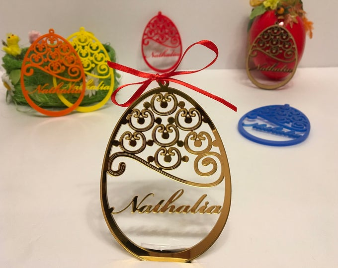 Personalized Easter Name Ornament Custom Bauble Hanging Decorations Custom Egg Laser Cut Names Wooden Eggs Family Gift for Easter Kids Names