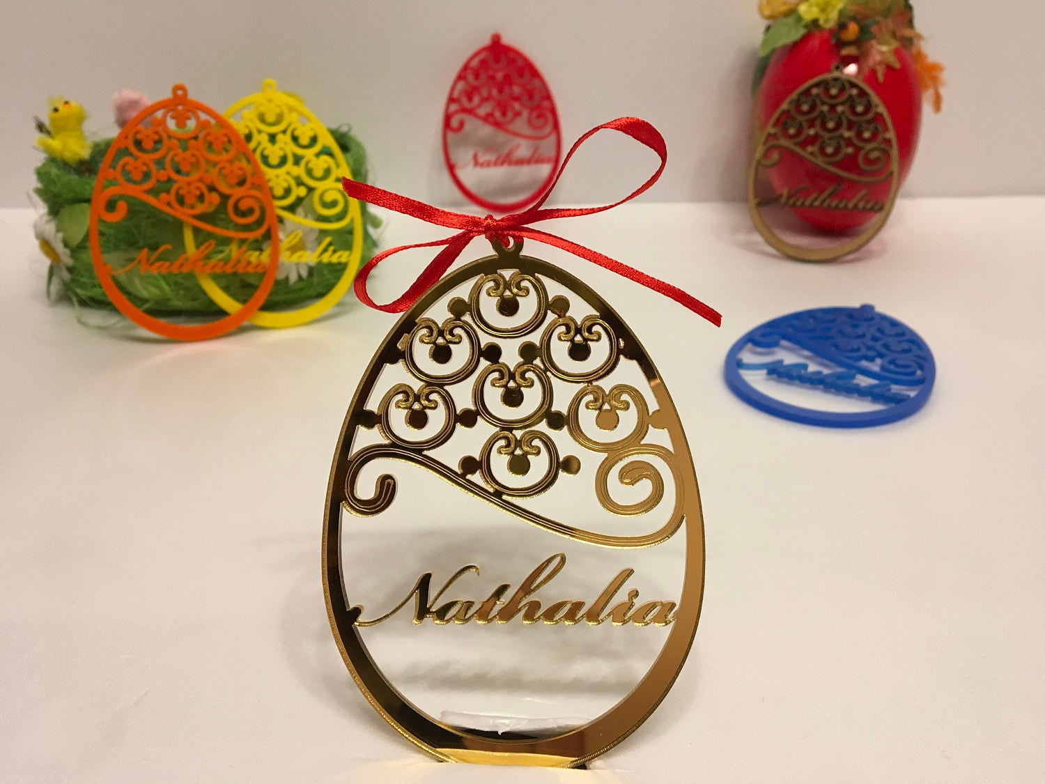 Personalized Easter Decor Name Tree Ornament Custom