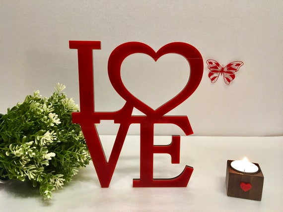 Love Word Heart Red Sign Valentines Day Gifts Personalized Centerpiece Wall Hanging Letters Valentine Decor Door Wreath Wedding Love Square