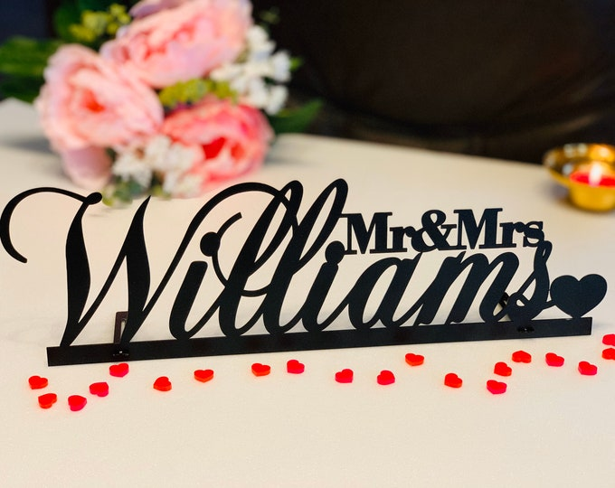 Wedding Name Metal Sign Mr and Mrs Sign Custom Name Sign Personalized Freestanding Surname Sign Sweetheart Table Decor Last Name Centerpiece