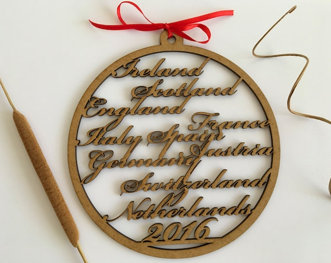 Personalized wood ornament Custom countries Memorial gift Wall hanging Wooden bauble Calligraphy names Wood shapes Custom Map Name gift tags