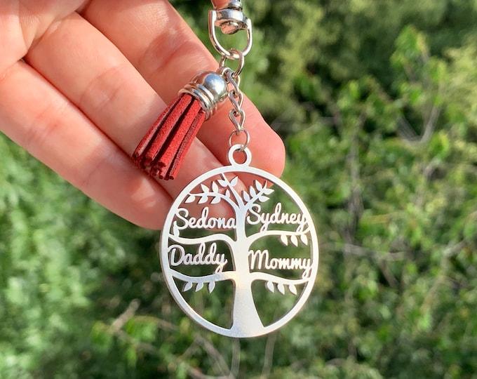 Personalized Name Keychain Tree of Life Keyring Custom Gift for Mam Dad, Grandma, Grandpa Family Names Memorial Key Chain Personalised Gift
