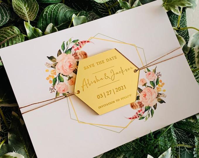Save the Date & Wedding Invitation, Personalized Names Mirror Acrylic, Wood Hexagon Shapes Custom Invites Reception, Invitation to Follow