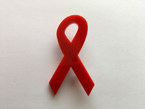 Red Ribbon Lapel Pins, Red Ribbon Brooch, Red ribbon week, AIDS Awareness Ribbon, Prevent AIDS Badge Ribbon Label Pin, World AIDS day