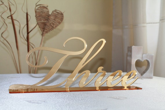 Gold Mirror Table Numbers Large Cursive Freestanding Script Numbers for Weddings Big Table Numbers Wedding Centerpiece Custom table numbers