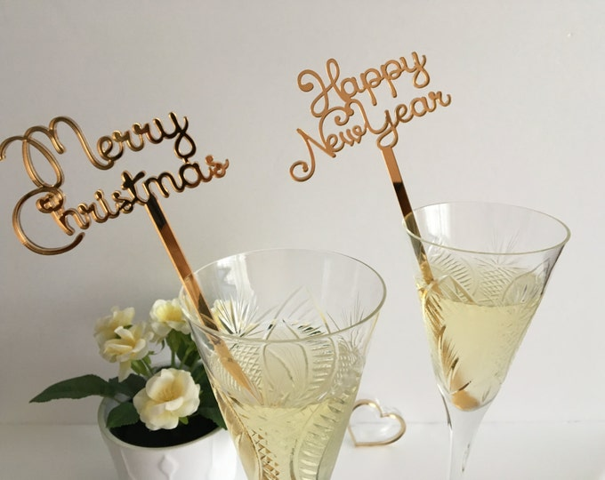 Merry Christmas 2021 New Years 2022 Party Decorations Swizzle sticks Drink stirrers Personalized Celebration Champagne cocktail Party favors