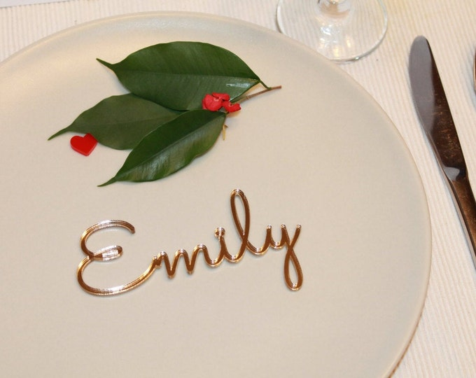 Wedding place names laser cut names Personalized place names Wedding place cards Escort cards Custom signs Wedding place cards Gold Wooden