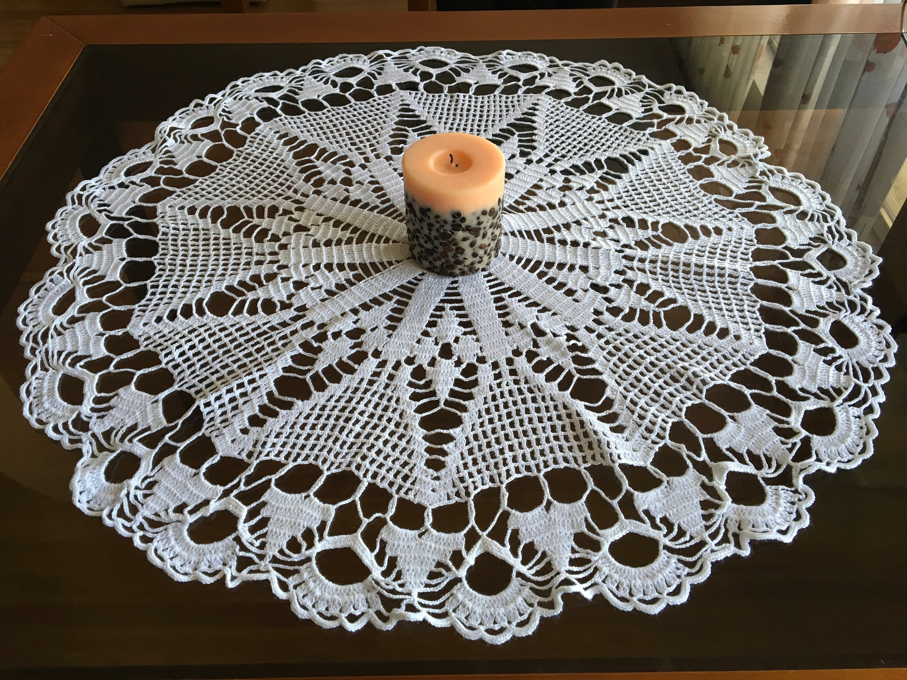 Vintage Large White Doily Crochet Round Tablecloth Lace Handmade