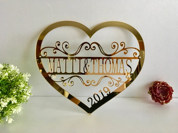 Personalized Valentine Wreath Door Hanger Couples Names Wedding Gift Established Year Laser Cut Heart Love Sign Wall Hanging Decor Monogram