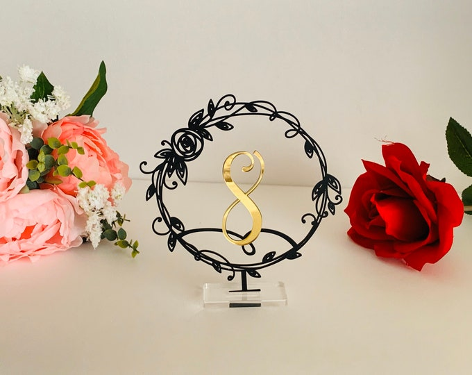 Wedding Table Numbers Laser Cut Black Metal Flower Number Holder Reception Party Event Decor Freestanding Wedding Sign Acrylic Centerpieces