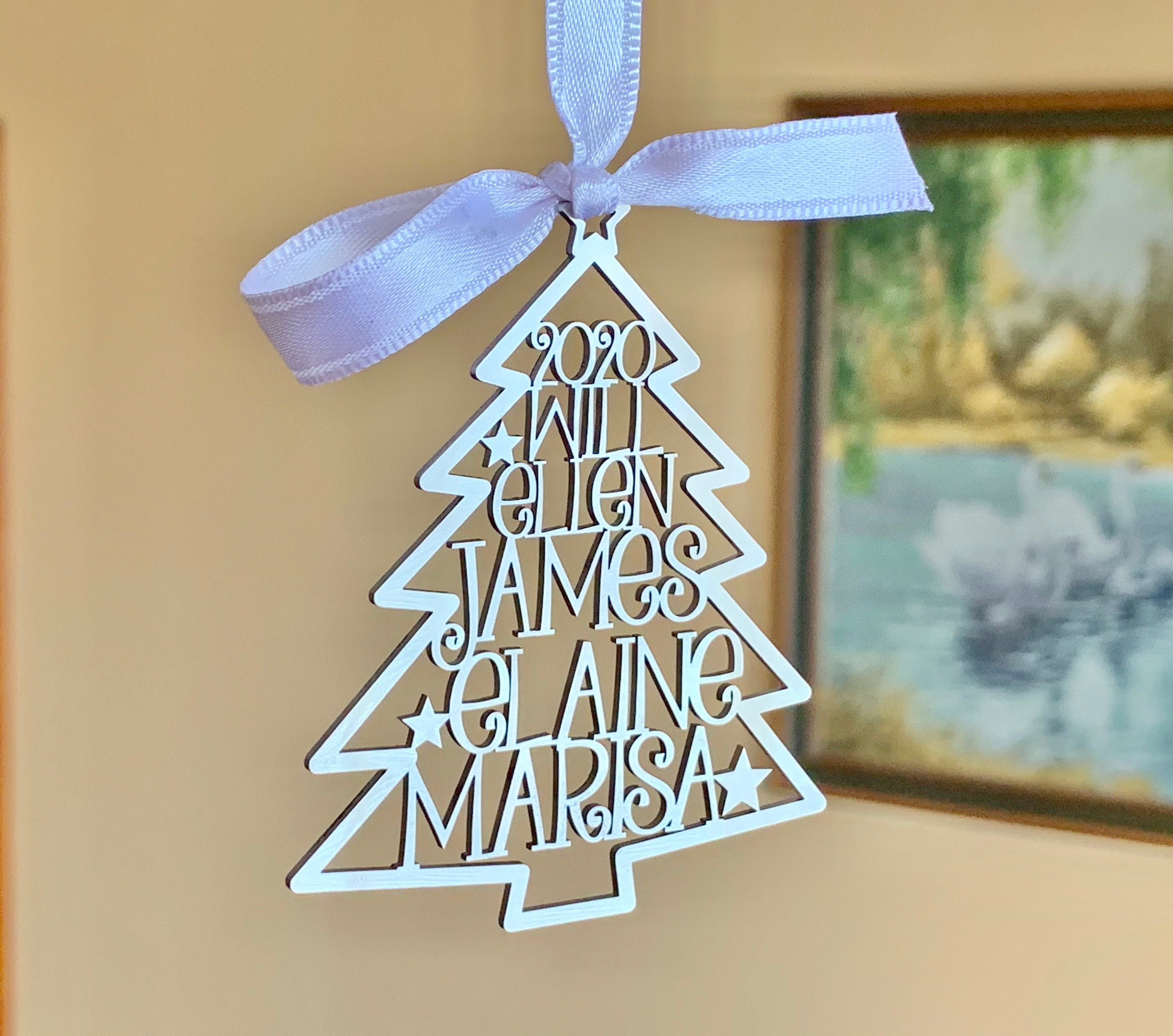 Popular Custom Made Christmas Gifts For 2021 Personalized 2021 Christmas Tree Ornaments Custom Family Names Laser Cut Holiday Gift Happy New Year 2022 Xmas Silver Hanging Tag Kids Names