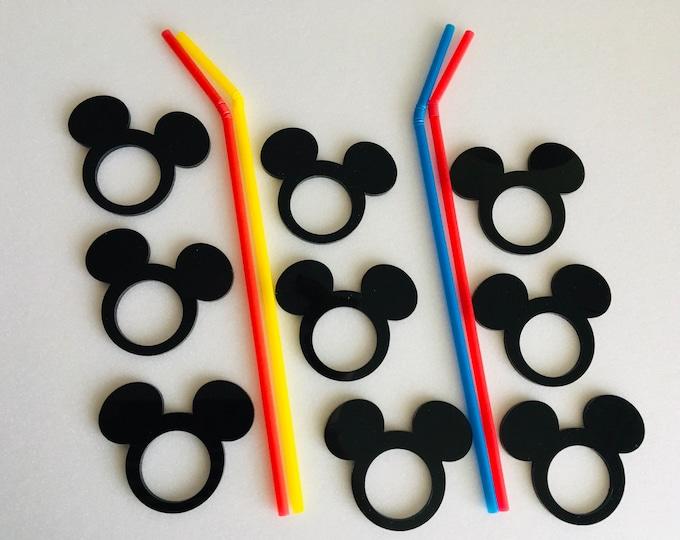 Black Mickey Mouse Acrylic Napkin Rings Birthday Decorations Disney Party Holders Holiday Decor Laser Cut Mickey Mouse Head Disney Ornaments