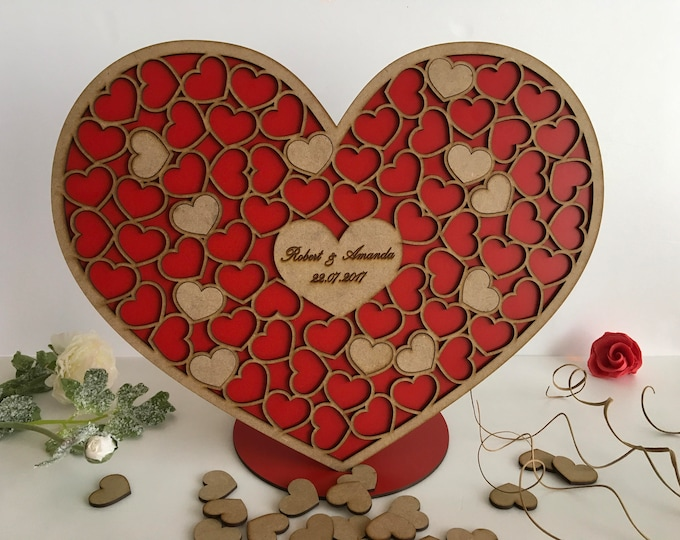 Personalized Wedding 3D Wood guest book Heart Drop Alternative guest book Red rustic guestbook Engraved heart names & date wedding guestbook