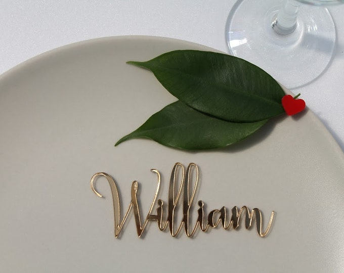Laser cut names Custom wedding signs Guest names Calligraphy wedding Personalized wedding place cards Place name settings Acrylic place card