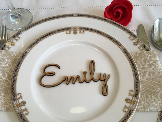 Wooden place names Wedding name cards for Birthday Parties and Event Personalized laser cut names Rustic Escort cards Custom wedding signs