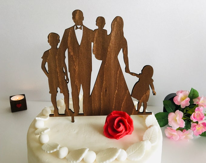 Wood Wedding Cake Toppers with Children Mr and Mrs Wood Any Colour Cake Toppers Family Silhouette Custom Bride and Groom Kids Custom Orders