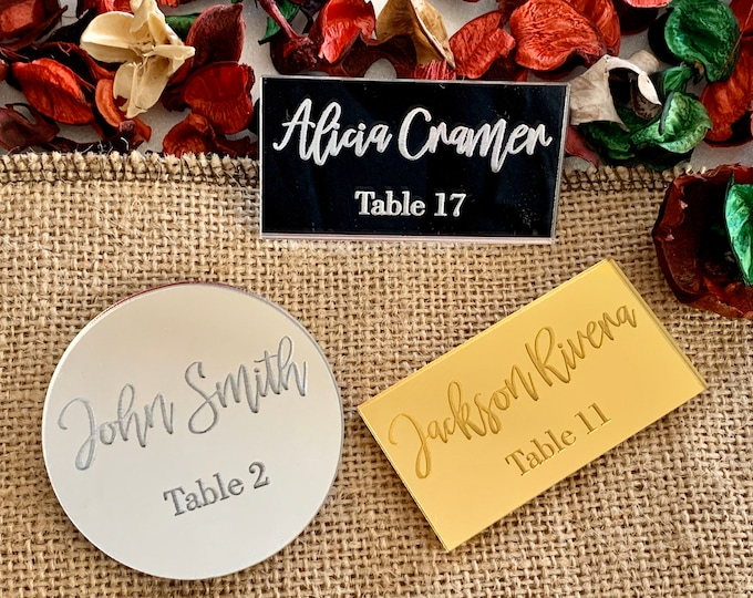 Personalized Mirror Acrylic Place Cards with Names and Tables Engraved Wedding Place Name Setting Table Name Cards Hexagon Rectangle Round