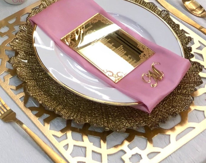 Personalized Acrylic Dinner Table Menu Wedding Menus Card Engraved Gold Mirror Food Menu Wedding Sign Signage Reception Table Centerpiece